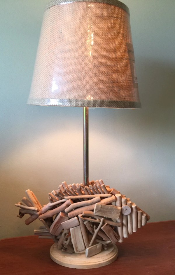Wooden Fish Nautical Table Lamp With Rattan Shade