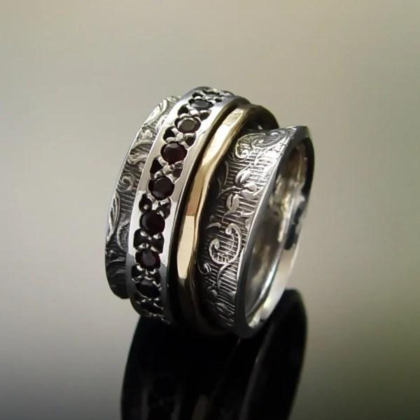 Gold Silver Meditation Ring Red Garnet Band Floral