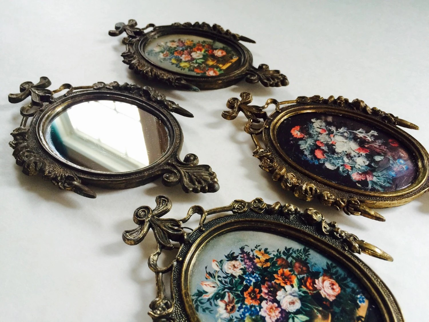 Brass Filigree Oval Frames & Mirror Set Made In Italy Vintage