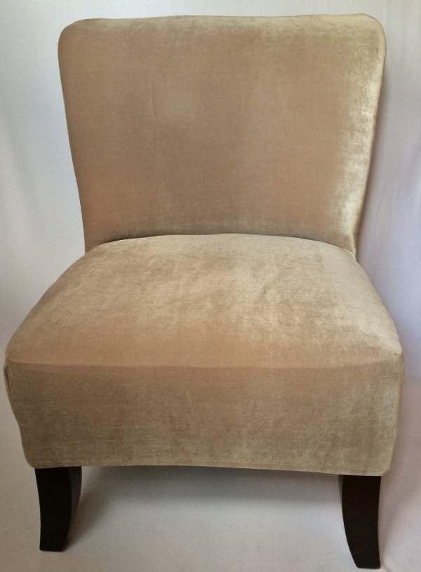 Slipcover Beige Velvet Stretch Chair Cover Armless