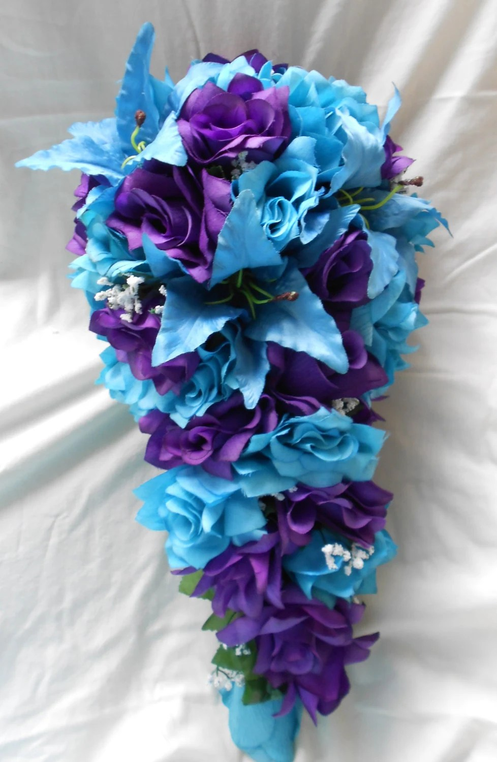 Turquoise or Malibu blue and royal purple Bride bouquet tiger
