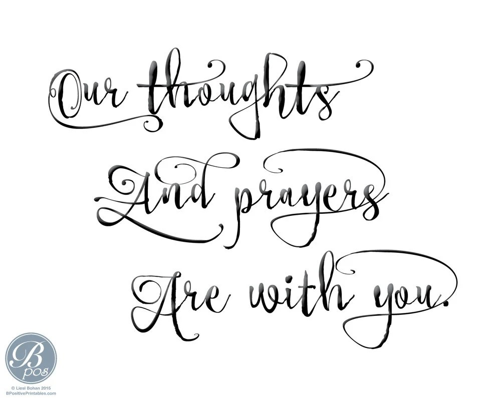Our thoughts and prayers Card Encouragement Sympathy