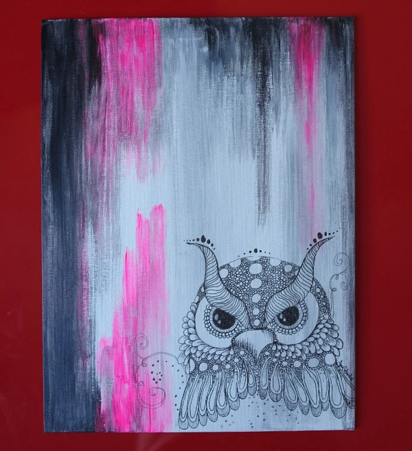 Owl Stand Pink Abstract Zentangle Art. Original