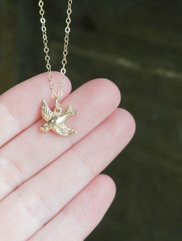 Gold Bird Necklace Dainty Flying Pendant 14k