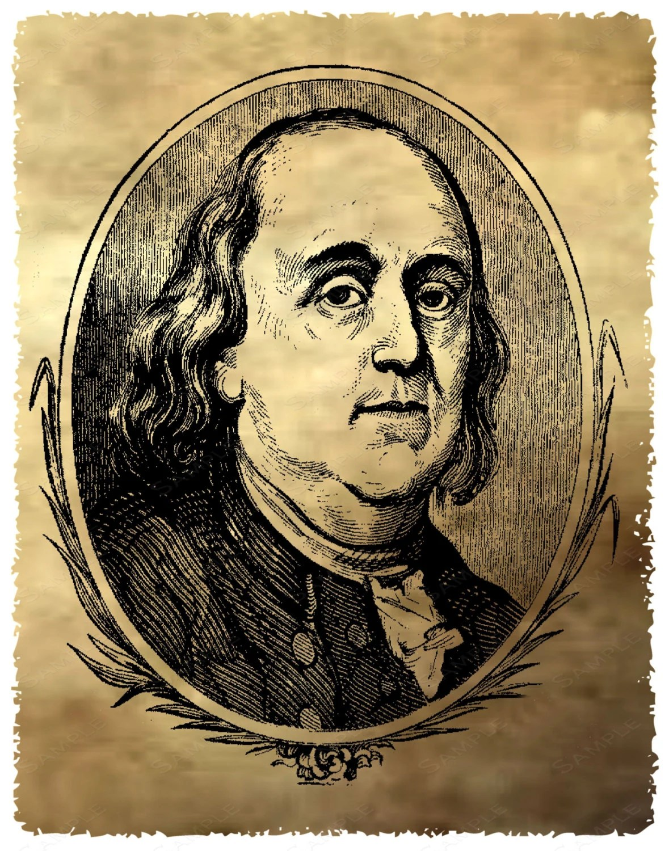 Ben Franklin Vintage Illustration Antique Ben By Jdpprints