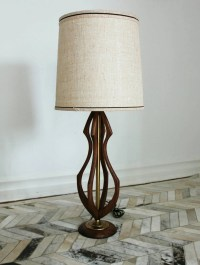 Mid-Century Wood and Brass Table Lamp  Haute Juice