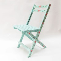 Folding chair hand-painted. Collapsible chair. Mexican chair.