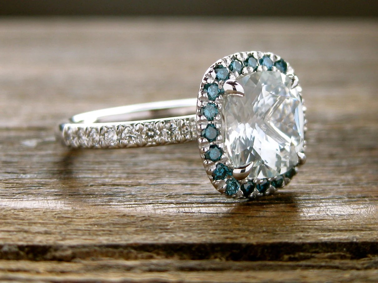 Natural White Sapphire Engagement Ring In 14K White Gold With