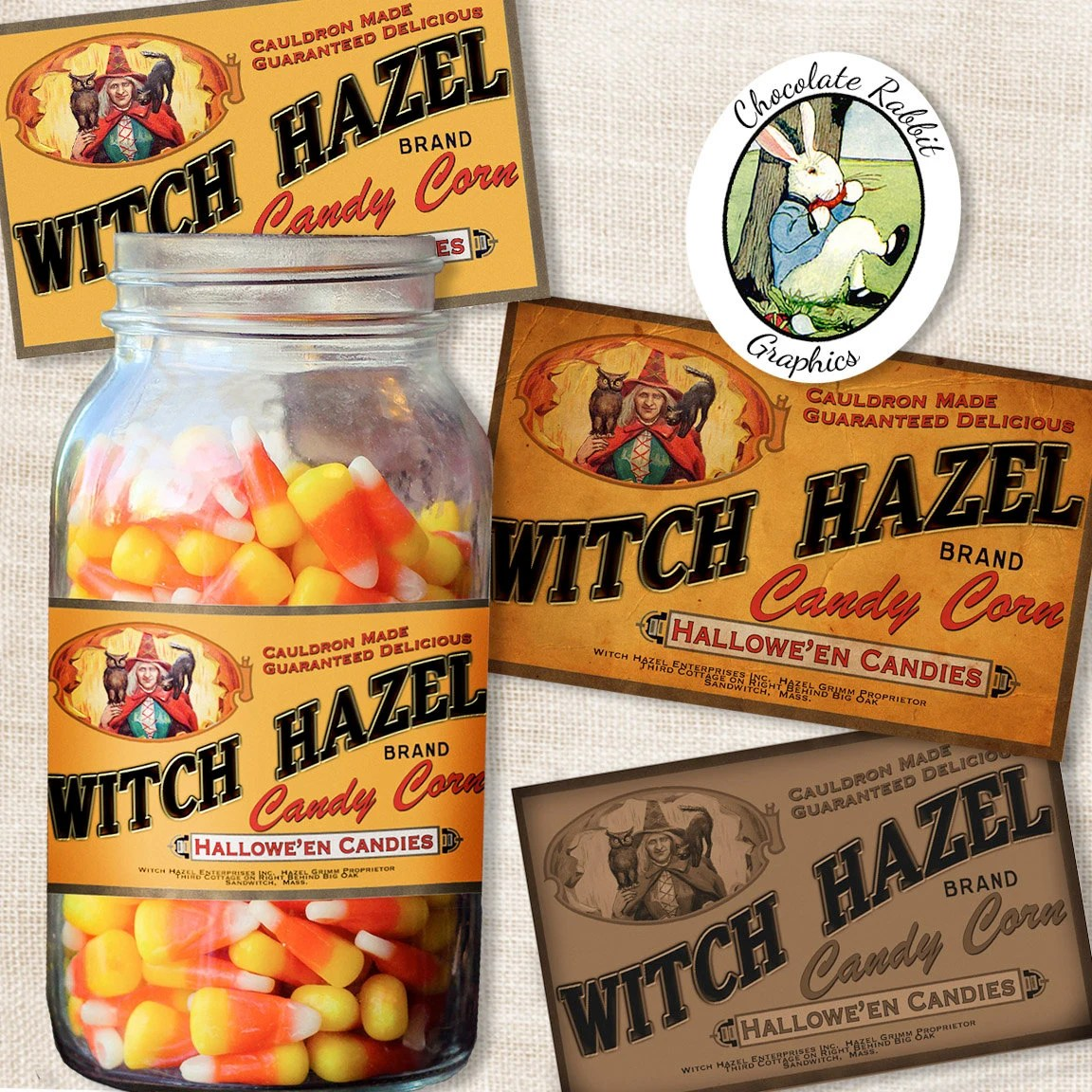 Halloween Candy Corn Label Vintage Style Witch Digital