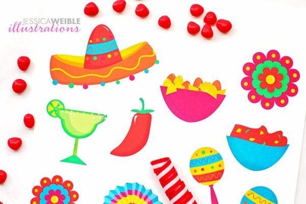 fiesta cute digital clipart spanish