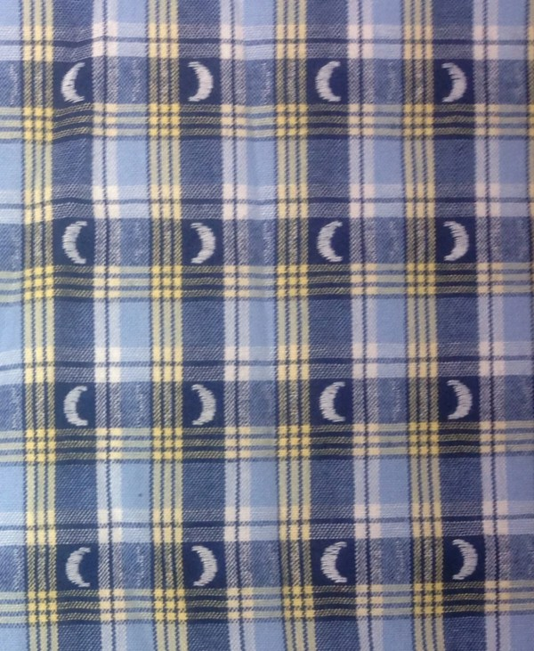 Blue And Yellow Plaid Quilting Fabric Cotton Vintage