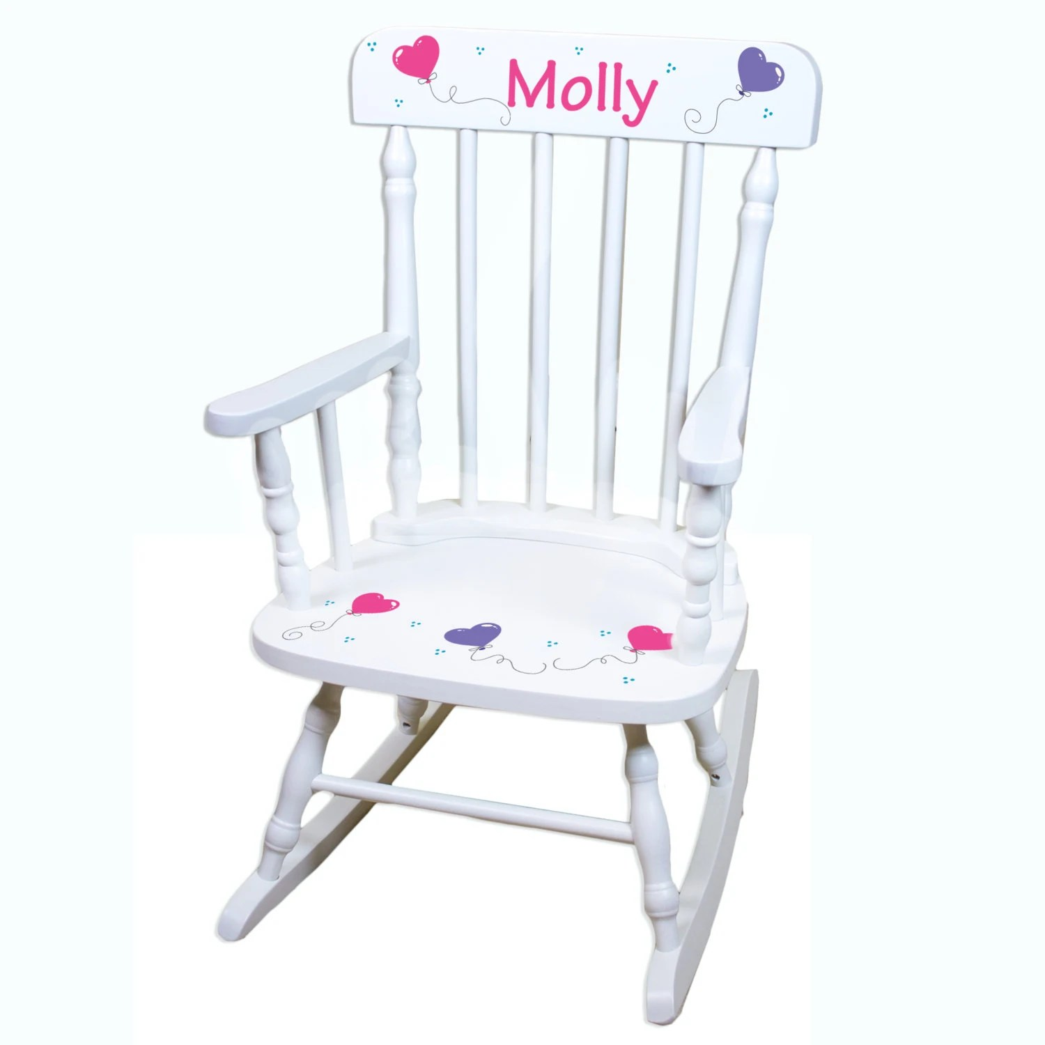 Personalized Chairs Hand Painted Personalized Girls White Spindle Rocking Chair
