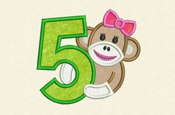 Sock Monkey Girl Happy Birthday Number 5 Applique Embroidery