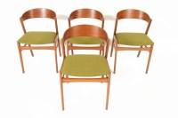 Set of Four Danish Mid Century Modern Teak + Oak Bow Back ...