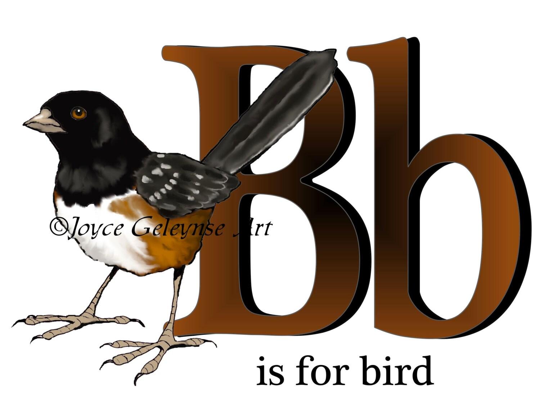 Alphabet Letter Clipart Letter B Bird Hand By Toadstoolprintables