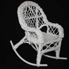 Vintage Wicker Rocking Chair Folding Foam Bed White Doll