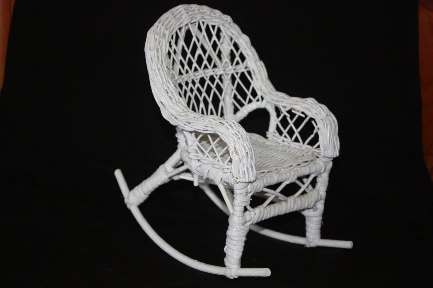 White Wicker Rocking Chair Vintage White Wicker Doll Rocking Chair