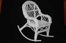 Vintage White Wicker Doll Rocking Chair