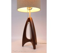 Tripod Table Lamp Mid-Century Style Walnut Wood Burlap