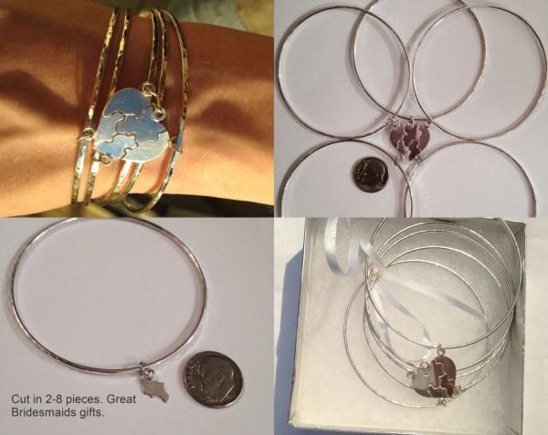 Sterling Silver Friends Puzzle Bangle Bracelet