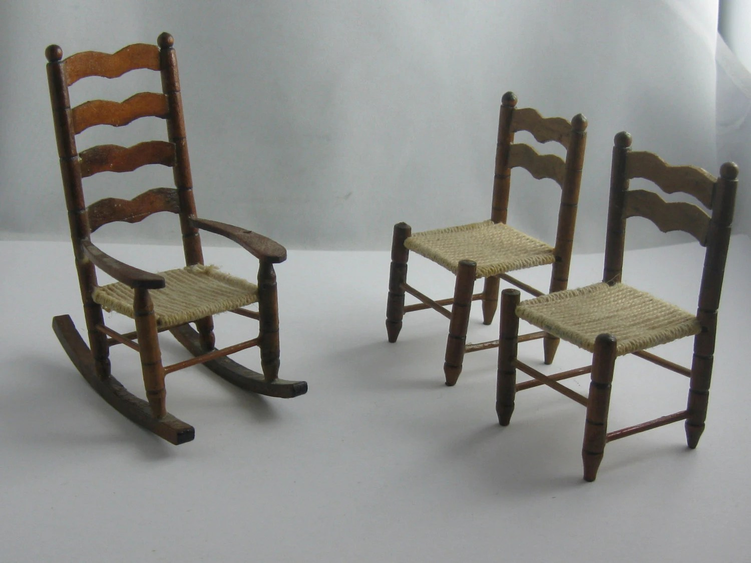 Miniature Chairs Miniature Dollhouse Furniture A Rocking Chair And 2 Chairs