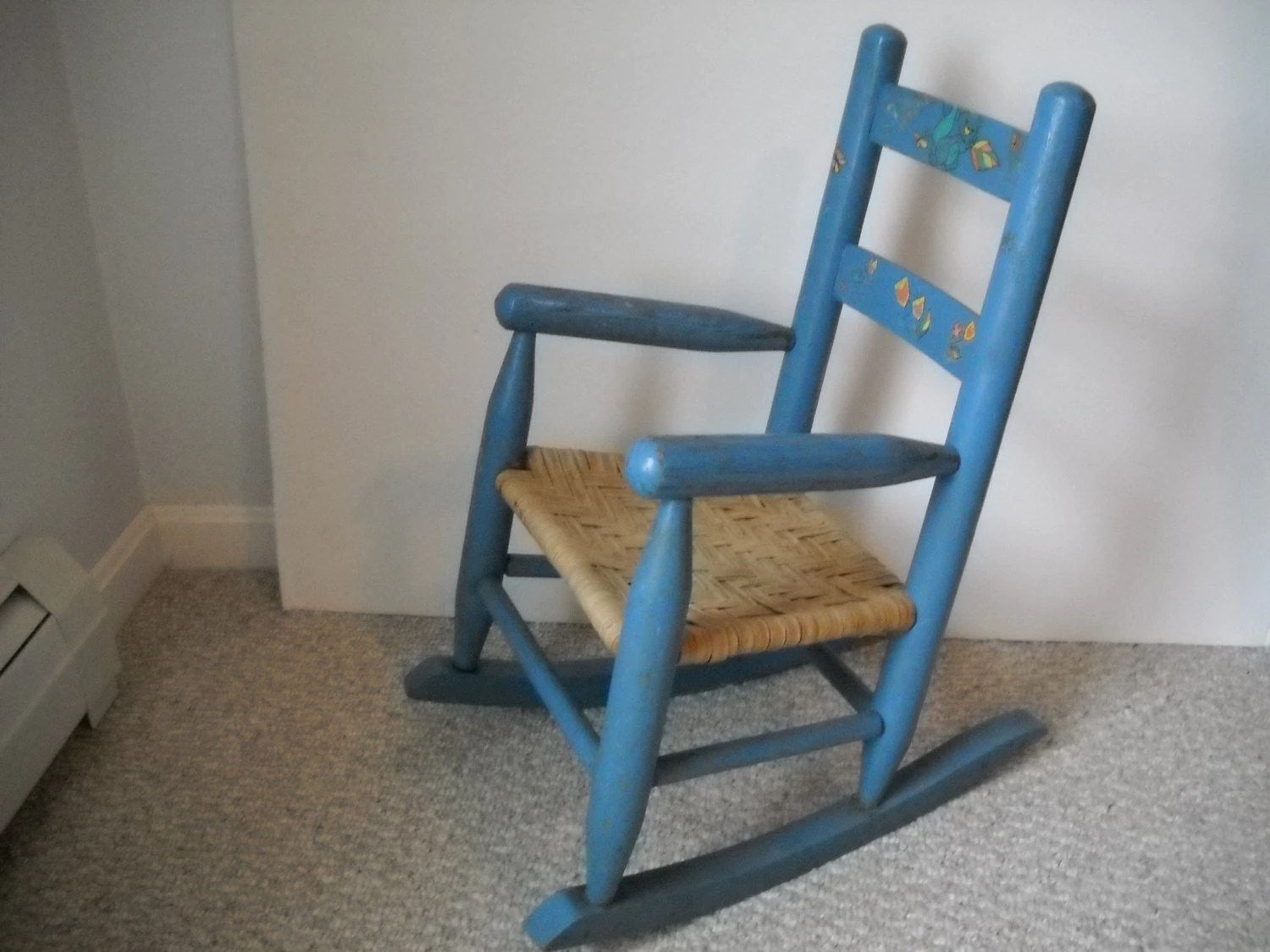 Kids Wooden Rocking Chair Child 39s Wooden Rocking Chair Painted Blue With Decor