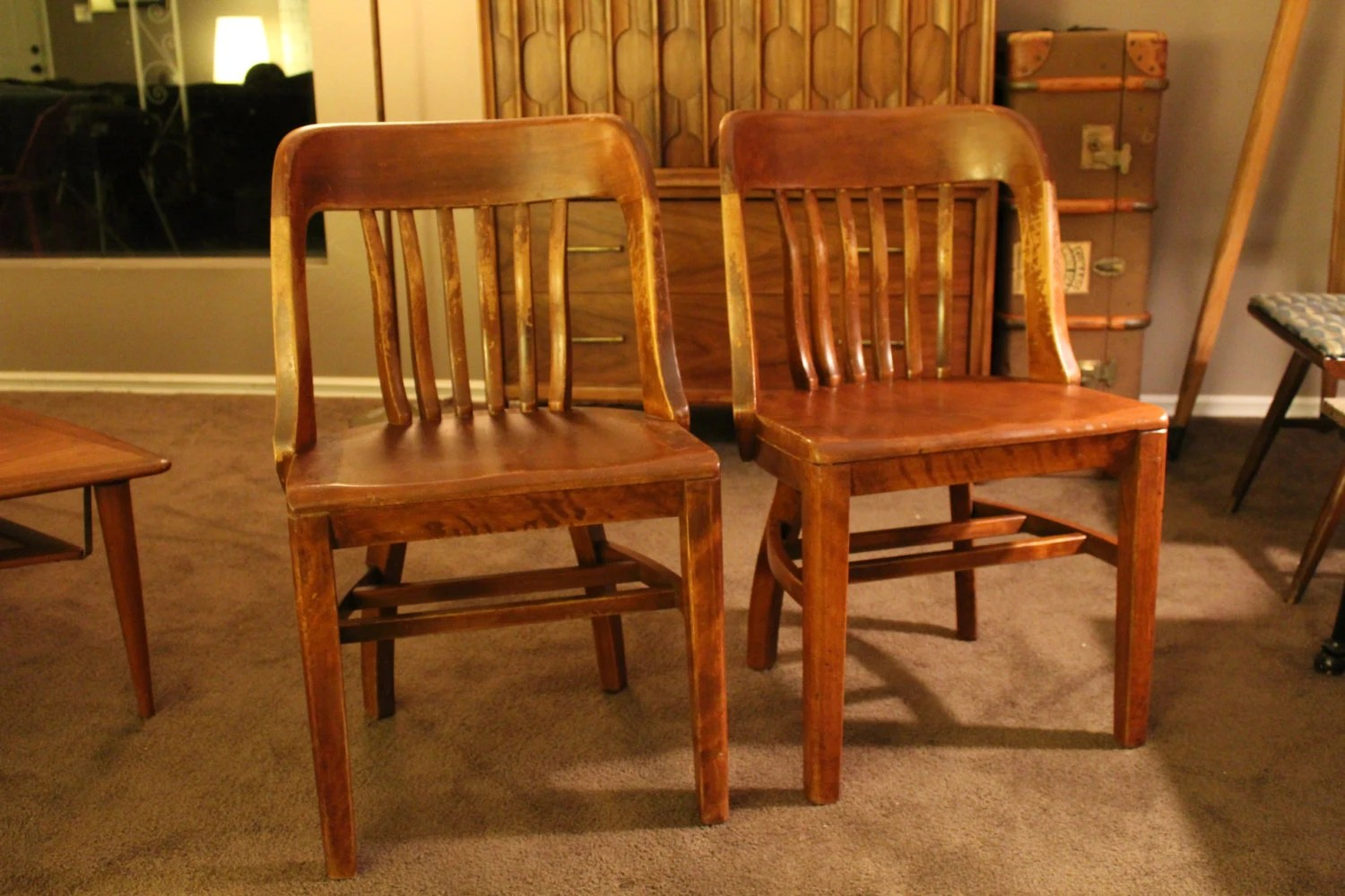 Wood Bankers Chair Pair Of Antique Wooden Banker 39s Office Chairs