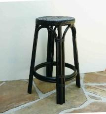Vintage Stool Rattan Wicker Painted Black Mid Century Seat