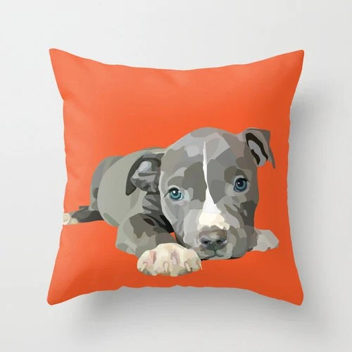 Pit Bull Terrier Puppy Home Decor Pillow Cover by RandomOasis