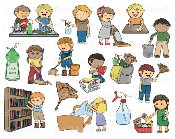 daily chores cleaning clipart