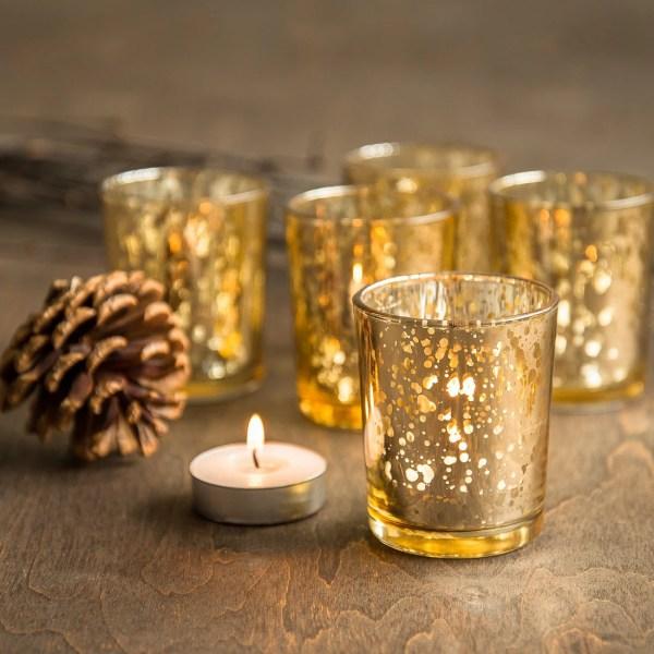 Set Of 48 Gold Mercury Glass Candle Votive