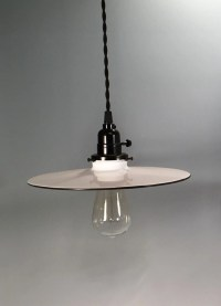 Single Vintage Style Enameled Metal Round Flat Shade ...