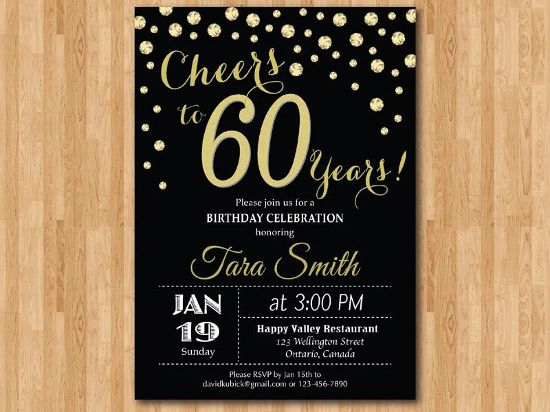 60th Birthday Invitation Gold Glitter Cheers To 60 Years