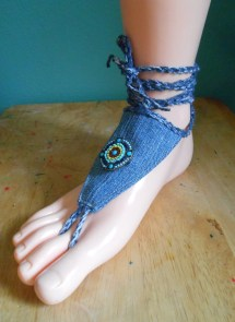 Barefoot Sandals Denim Indian Bead Ankle Wrap Toe Thong