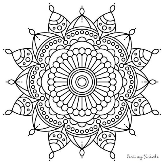 Items similar to Mandala Adult Coloring Page #56 on Etsy   free printable mandala coloring pages for adults easy