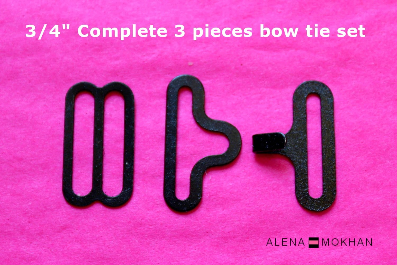 3/4 Black Bow Tie Hardware Set Necktie Adjustable Hook