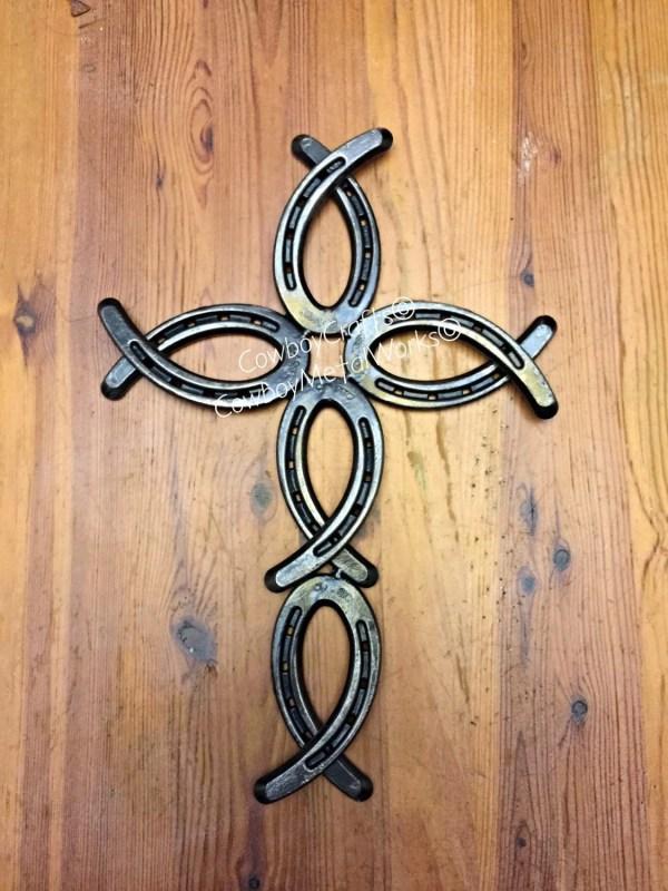 Hand-crafted Horseshoe Cross Jesusfish