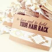 hair tie bridal shower favor white