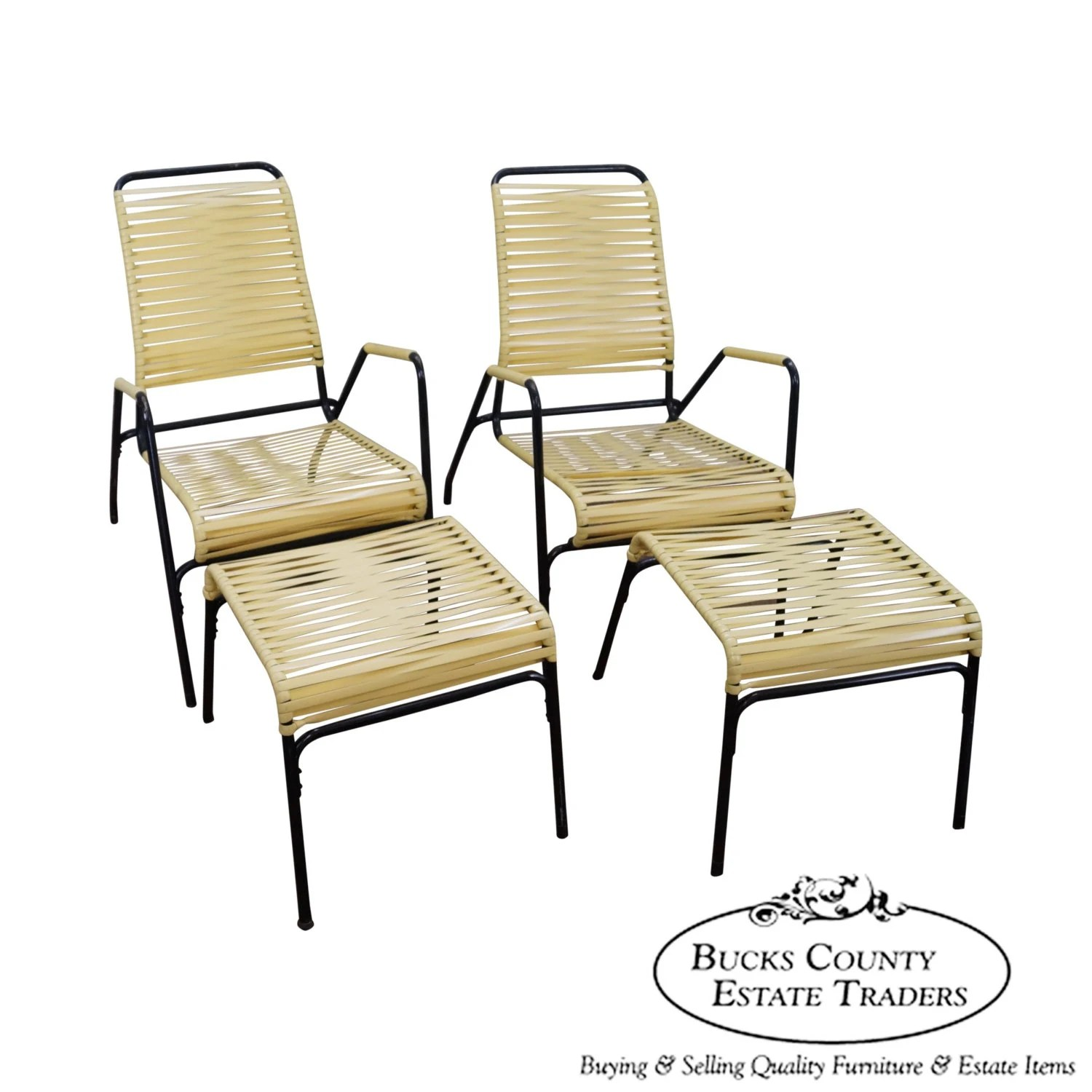 patio chair replacement vinyl straps metal side chairs mid century modern pair of yellow strap chaise