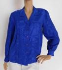 Vintage 1980s Cobalt Royal Blue Dress Shirt Killabvintage
