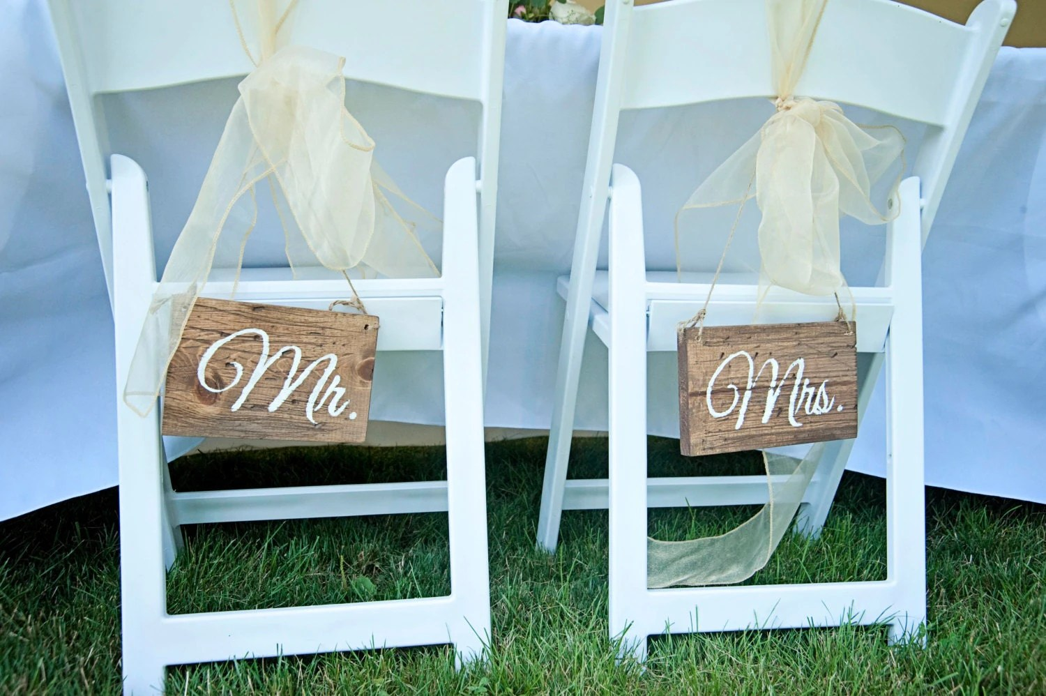 mr and mrs chair signs lazy boy office chairs depot wedding rustic by