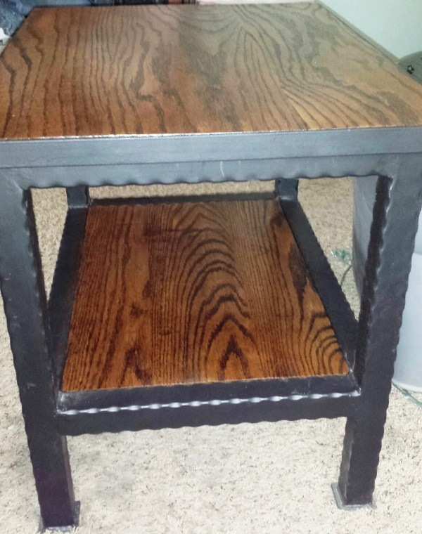 Handcrafted Hammered Wrought Iron End Side Table With Shelf