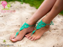 Mint Emerald Crochet Barefoot Sandals Sandal Beach