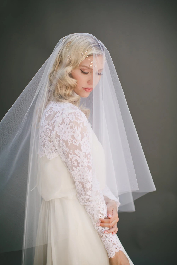 Drop Wedding Veil Simple Tulle Veil Circle Veil By