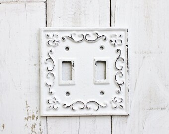 Metal Wall Decor Light Switch Cover In Shabby White-GFI Rocker