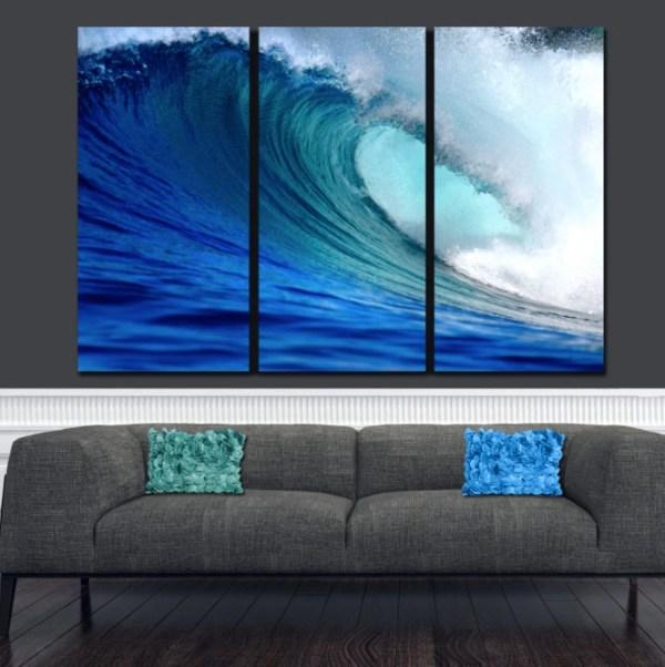 Huge Ocean Wave Canvas Large Wall Art Blue