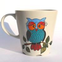 Owl Mug Painted Coffee Mug Hand Painted Mug Beige Stoneware