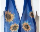 "Hand Painted silk scarves~Sunflower Silk Scarf~Sunflower scarf~8""x52"" chiffon silk~Handmade silk scarf~Handpainted silk scarf~ETSY"