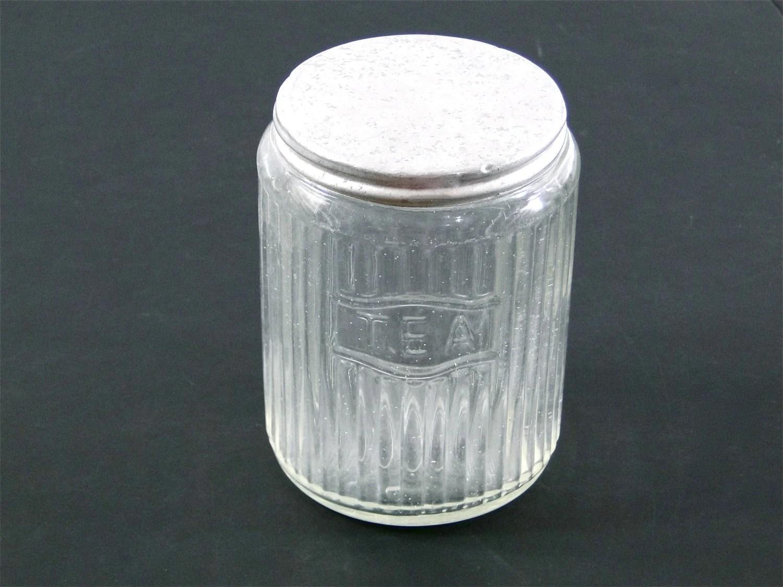 Hoosier Jar Glass Tea Canister  Metal Lid by SueEllensFlair