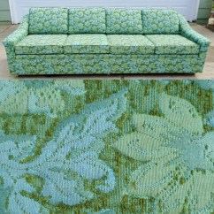 Green Floral Sofa Martino Leather Sectional 2 Piece Vintage Mid Century Modern Couch Davenport